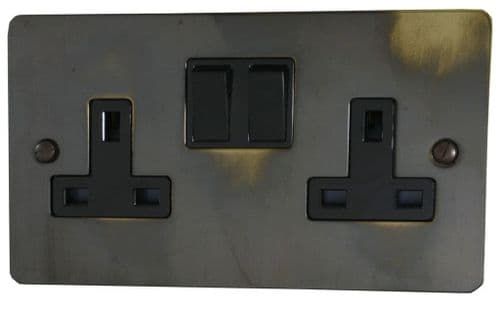 G&H FAN10B Flat Plate Polished Aged Brass 2 Gang Double 13A Switched Plug Socket
